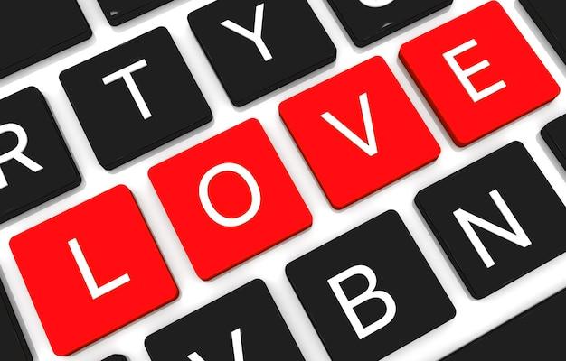 3d render liefde concept sleutel. 3d render van enter-knop met rood hart. liefde concept