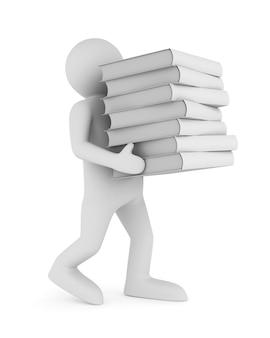 3d render man draagt een stapel boeken geïsoleerd op een witte achtergrond