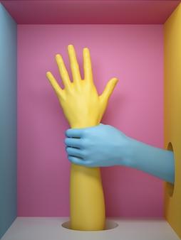 3d render, mannequin lichaamsdelen geïsoleerd op roze achtergrond, kunstmatige vrouwelijke handen feministische protest metafoor, in vierkante doos.