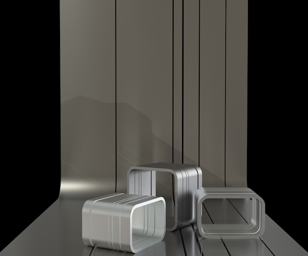 3d render metalen podium