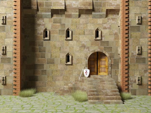 3d render middeleeuwse bolwerk gebouw buitenkant