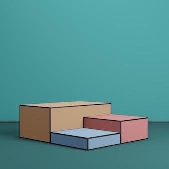 3d render minimale kleurrijke podiumpodia op blauwe achtergrond