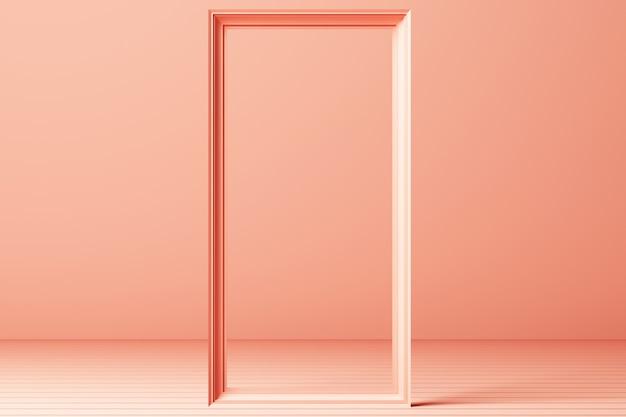 3d render minimale mode-achtergrond boog tunnel gang portaal perspectief roze mint pastel kleuren