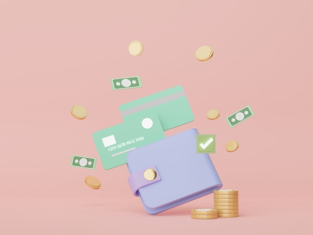 3d render minimale portemonnee die rond met zwevende gouden munten geld concepten financiële planning
