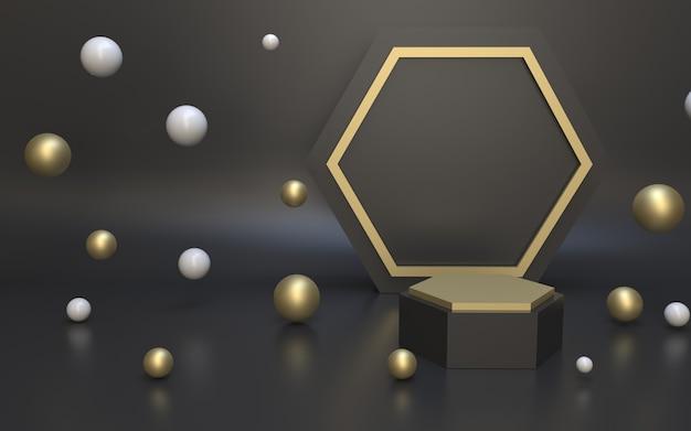 3d render minimalistisch zwart gouden podium voor productweergave