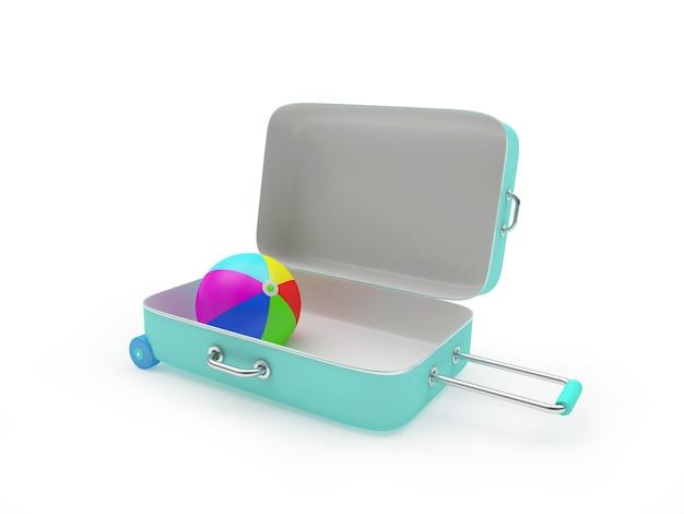 3d render mint geopende koffer met kleurrijke strandbal binnen geïsoleerd op een witte achtergrond