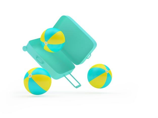 3d render mint koffer met kleurrijke strandballen die eruit vallen geïsoleerd op een witte achtergrond