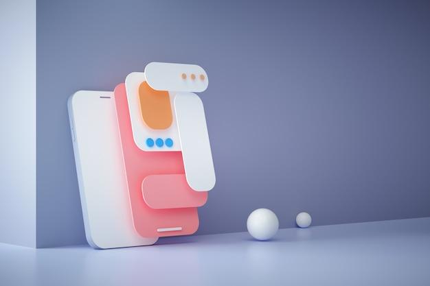 3d render mobiele app-ontwikkeling, ui-ux-ontwerp, webdesign en applicatie-indeling.