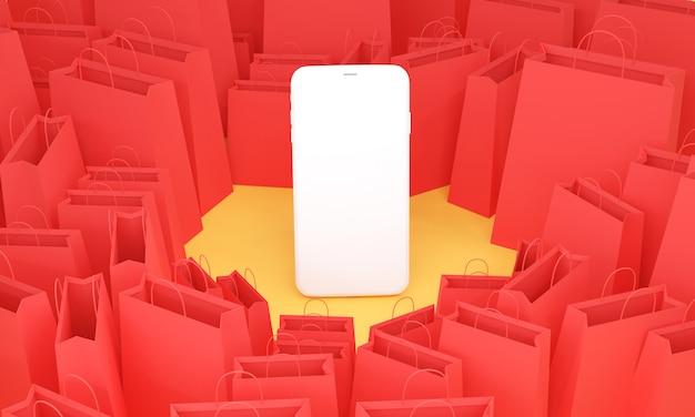 3d render, mobiele telefoon met veel rode boodschappentas