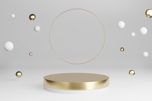 3d render: mockup gouden platform met ronde glanzende ringen en vallende decoratiebal met lege ruimte voor productshow.
