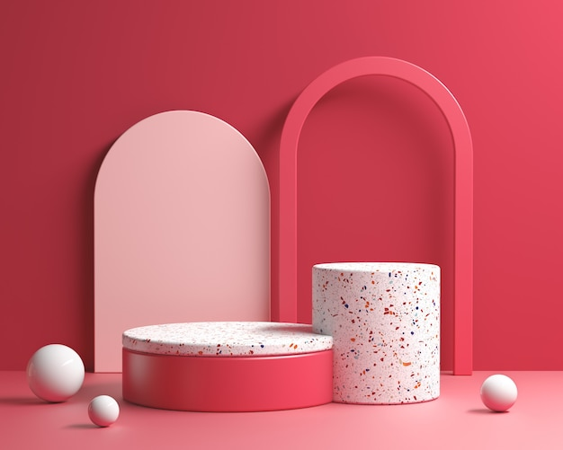 3d render modern step platform red velvet geometry concept abstracte achtergrond