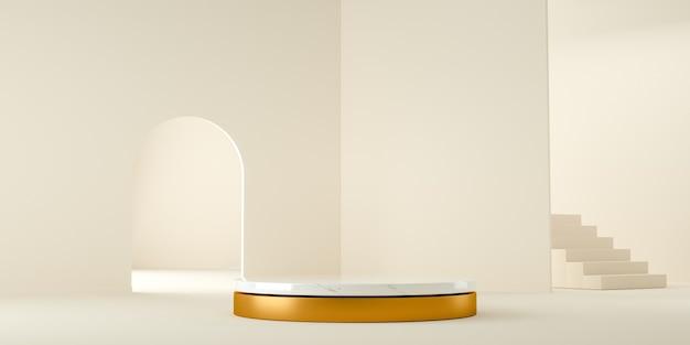 3d render, moderne en minimalistische achtergrond met wit marmer en goud in abstracte binnen