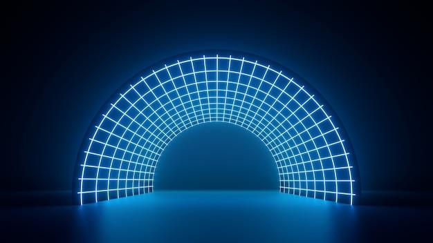 3d render, netwerkvezel optische abstracte neon