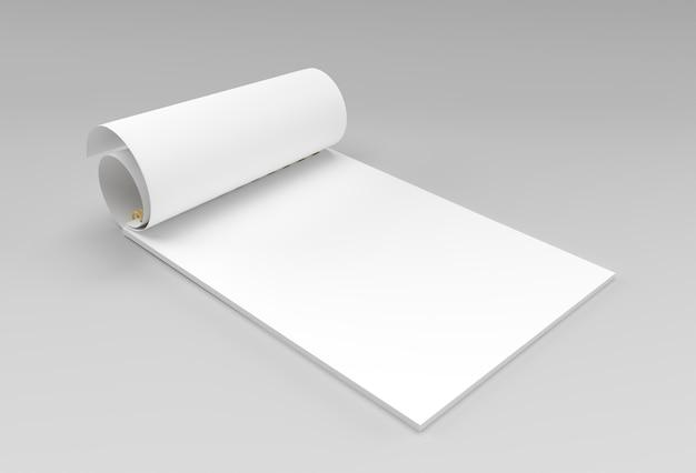 3d render notebook mock-up tijdens het draaien voor design en reclame, 3d-illustratie perspectief bekijken.