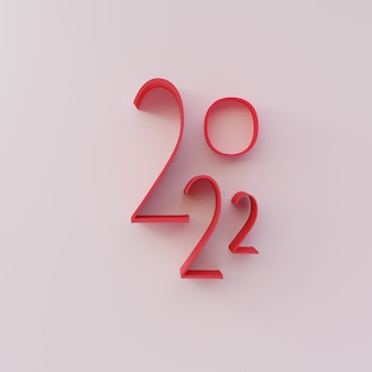 3d render, nummer gelukkig 2022 nieuwjaar