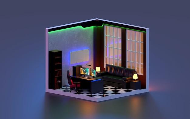 3d render office kamer isometrisch., 3d illustratie.