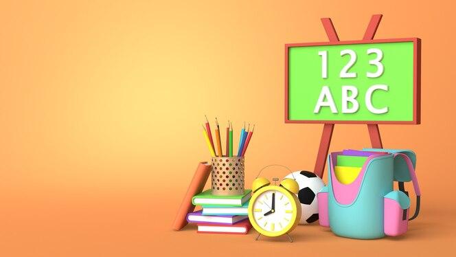 3d render ontwerp van boeken tas klok en doos van kleurpotloden met kopie ruimte