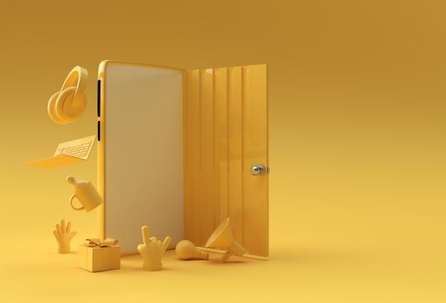 3d render open deur symbool van nieuwe carrière, kansen, zakelijke ondernemingen en initiatief. bedrijfsconceptontwerp.