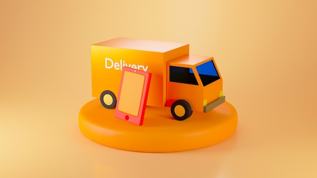 3d render oranje bestelwagen en smartphone op podium geïsoleerd op oranje achtergrond