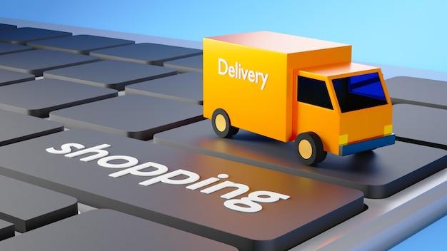 3d render oranje bestelwagen op een toetsenbord waarop winkelen is geschreven op blauwe backgruond
