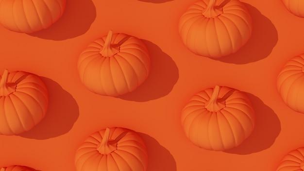 3d render. oranje pompoenen op oranje achtergrond.