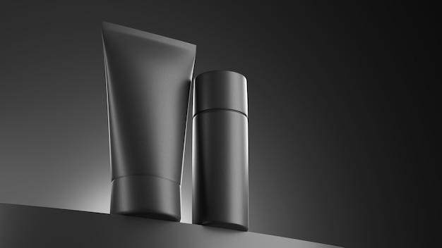3d render parfum in een donkere, brutale lay-out een zwarte fles en potcosmetica op een zwarte achtergrond