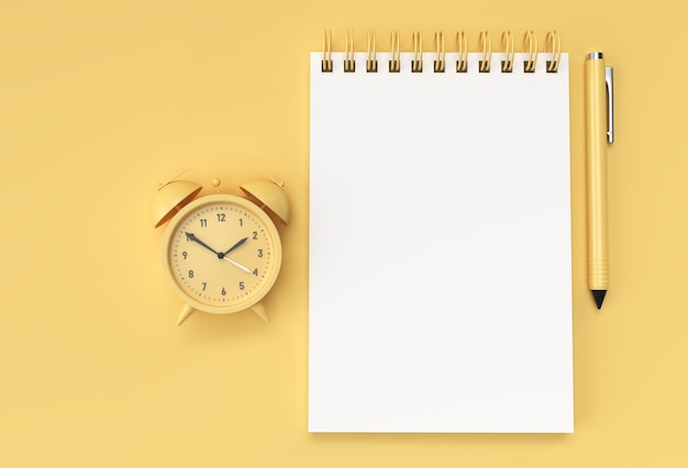 3d render pen en kladblok met alram clock op de pastel gele achtergrond. Premium Foto