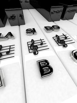 3d render, piano toetsen met g-sleutel notities. muzikale achtergrond