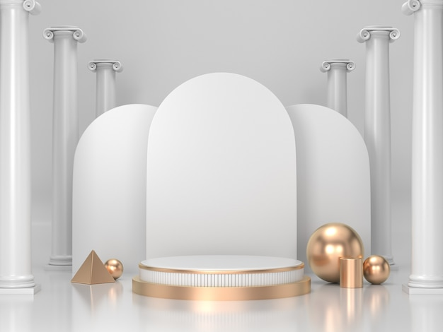3d render podium achtergrond voor cosmetica of een product. witte en gouden podium achtergrond