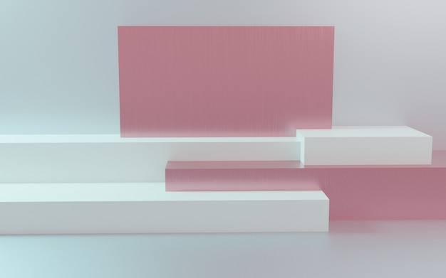 3d render podium in abstracte pastelsamenstelling