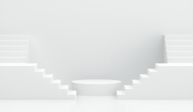 3d render podium met trappen op wit