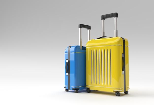 3d render polycarbonaat koffer op pastel witte achtergrond.
