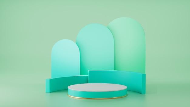 3d render, primitieve vormen, abstracte geometrische muur, cilinderpodium, modern minimaal, lege sjabloon, groen gouden metalen raster, lege vitrine, winkeldisplay, blush groene pastelkleur