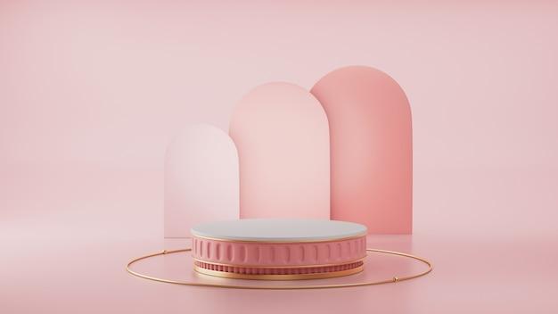 3d render, primitieve vormen, abstracte geometrische muur, cilinderpodium, modern minimalistisch, lege sjabloon, roségouden metalen rooster, lege vitrine, winkeldisplay, blozen roze pastelkleuren