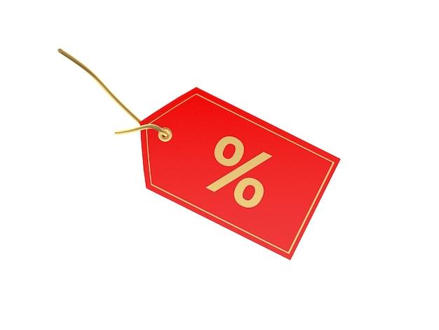 3d render procentteken op rood prijskaartje geïsoleerd op een witte achtergrond