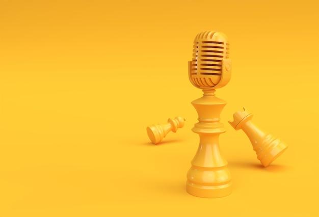 3d render realistische schaken koning toren en pionnen soldaat met microfoon illustratie design.