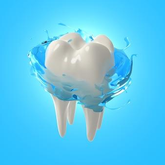 3d render realistische tanden. witte tanden reinigen met mondspoeling