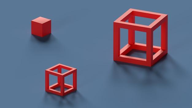 3d render rode blokjes op de vloer abstracte compositie