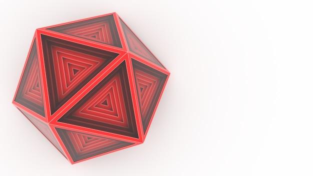 3d render rode icosaëder op witte vloer