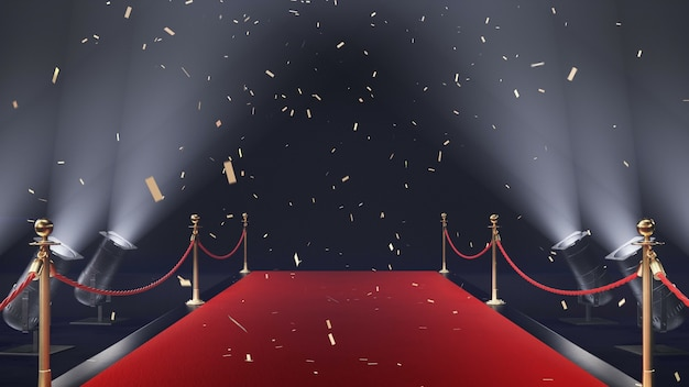 3d render rode loper met confetti en volume licht op zwarte achtergrond