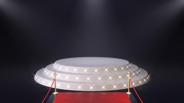 3d render rode loper met podium en gloeiende schijnwerpers