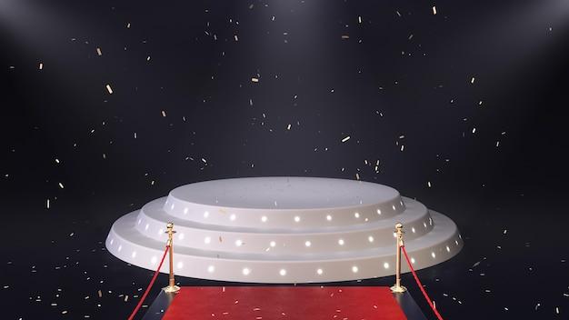 3d render rode loper met podium en vallende confetti