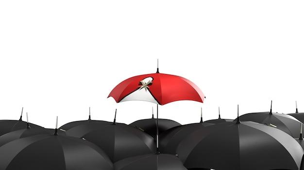 3d render rode paraplu opvallen tussen de menigte van vele zwart-wit paraplu's. zakelijk, leidersconcept, verschillende concepten zijn