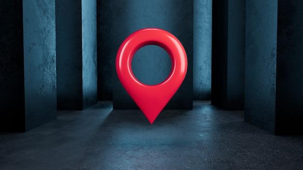 3d render rood locatiepictogram geïsoleerd op een donkerblauwe achtergrond met kolommen