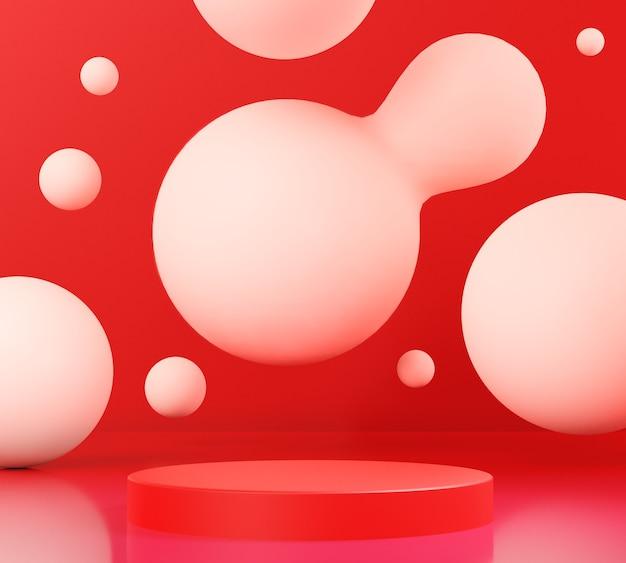 3d render rood podium met een rode achtergrond, abstracte achtergrond, voetstuk voor showmerkproducten.