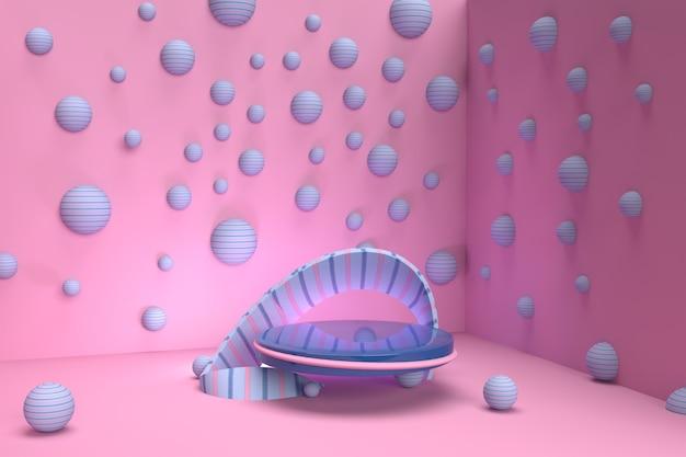 3d render roze en blauwe bellen met voetstuk