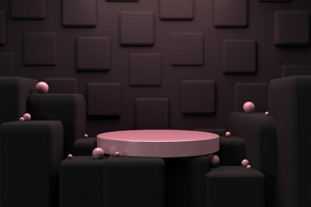 3d render roze en zwarte cirkel voetstuk
