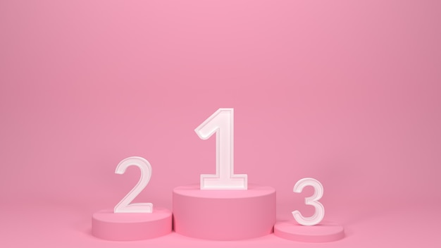 3d render roze podia met nummers