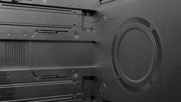 3d render sci-fi hoog gedetailleerde oppervlakken. toekomstige achtergrond met complexe vormen en vormen. technologie illustratie.