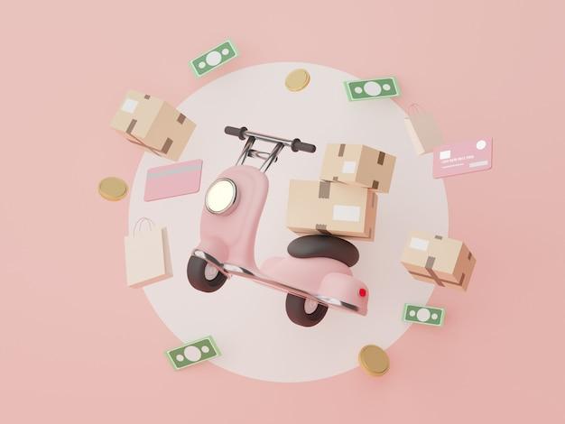 3d render scooterbezorging voor mock-up winkelen online concept online bezorgidee
